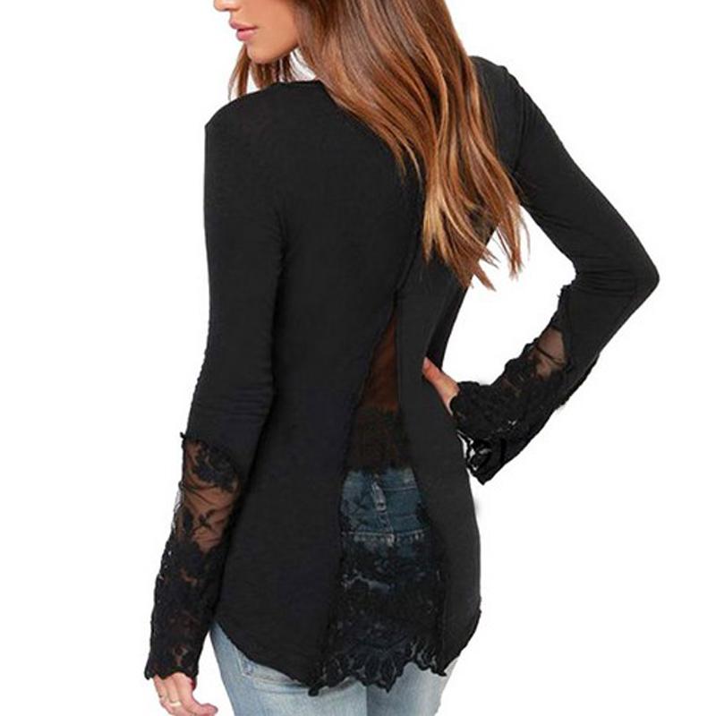 Women Sexy V Neck Black White T Shirt Full Sleeve Plus