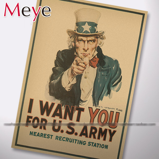 House Decoration Painting Core Uncle Sam Poster Advertising Mural Comic Stickers Conscription Kraft Printed Draw Hanging Picture(China (Mainland))