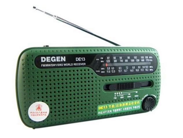Tracking number+ DEGEN portable mini fm radio DE13 FM MW SW Crank Dynamo Solar power Emergency Radio World Receiver(China (Mainland))