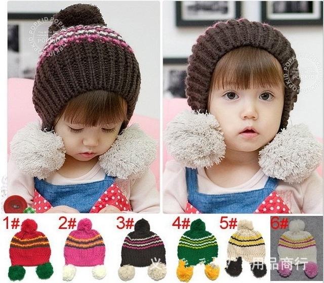 EMS DHL Free shipping Winter Lovely Children kids earflap caps hats Beanie Beret Double balls cap Wholesale 30pcs/lot