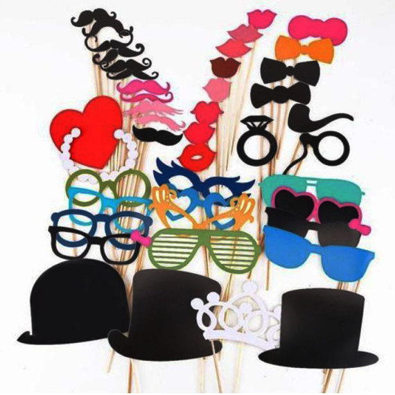 Free Shipping 1Set of 44pcs Photo Booth Props Glasses Mustache Lip On A Stick Wedding Decoration Birthday Party Fun Favor 347D(China (Mainland))