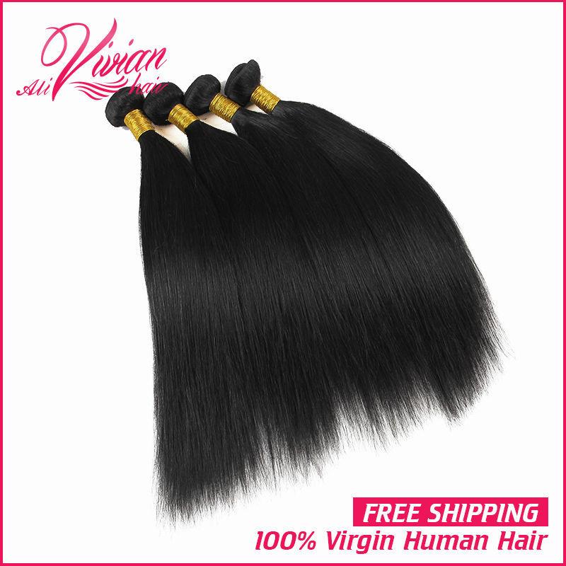 Brazilian Straight Virgin Hair 4pcs Lot 8-32inch 100g Bundles 100% Human Hair Vivian Human Hair Brazilian Virgin Hair Straight(China (Mainland))