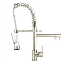 Nichel spazzolato deck mount singola maniglia lavandino rubinetto pull out e giù kitchen sink faucet pull out rubinetto della cucina della nave(China (Mainland))