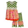 Girls Clothes Flower Decoration Round Neck Stripe Lace Blouse And Models Flounced Stitching Shorts Vetement Fille