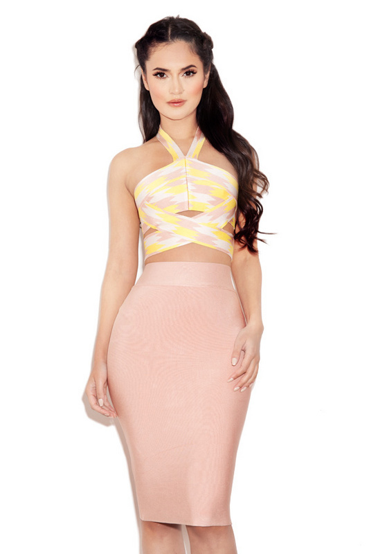 2016 Bright Summer Color 2 Pieces Bandage Dress Sexy Bandage Dress Affordable Luxuirous Dress Night Club Dress(China (Mainland))