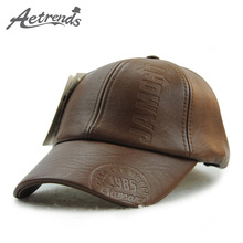 [AETRENDS] 2016 Winter PU Leather Baseball Cap Warm Sport Hats for Men Z-3388()