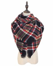 2016 Winter Fashionable font b Tartan b font Knit Women Plaid Blanket Scarf Light Wool Comfortable