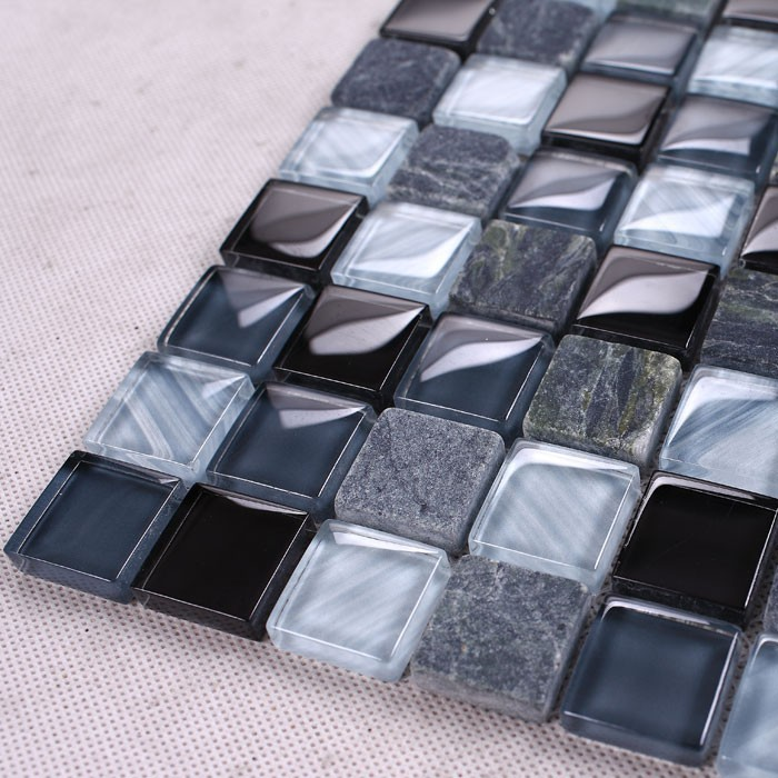 Sicis black crystal Glass Grey Marble Stone mosaic tiles backsplash kitchen wall tile sticker bathroom floor tiles free shipping(China (Mainland))