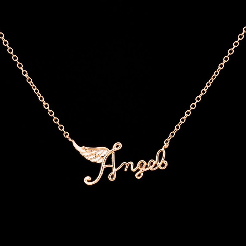 1-2016 Fashion Women Kolye Minimalist Jewelry Dainty Angel Wing Charm Layering Necklace Silver Gold Plated Bijoux - Show store