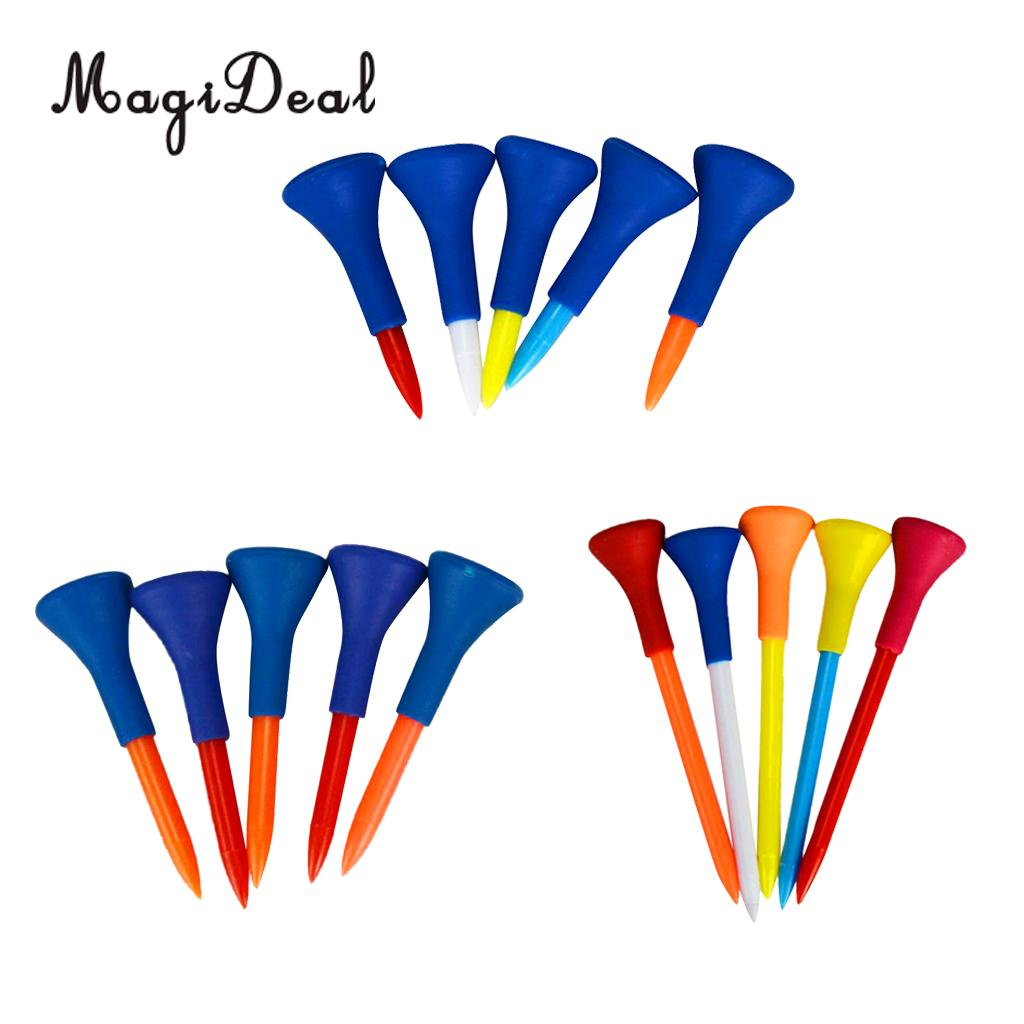 MagiDeal 5Pcs Durable Soft Rubber Cushion Top Golf Tees Accessory Random Color Short Medium Long for Professional Golfers Gift