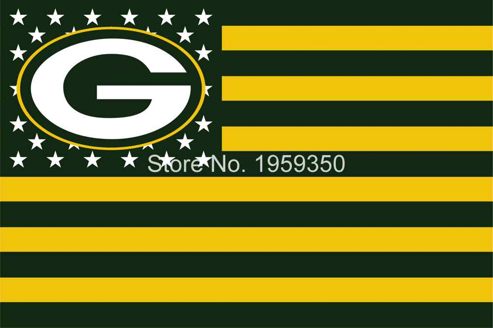 Green Bay packers US Stripe Flag 3x5 FT 150X90CM Banner 100D Polyester flag 40144(China (Mainland))