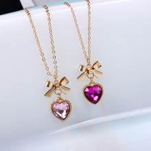 Buy Fashion Cute Bowknot Rhinestone Heart Pendant Women Chain Necklace Accessories soft bow series glass gem red heart necklace for $1.40 in AliExpress store