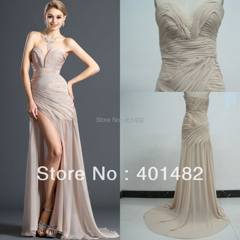 New Fashionable Strapless V-Neckline Front Slit Champagne Evening Dresses - Elaine Fashion --- 100% Satisfaction store