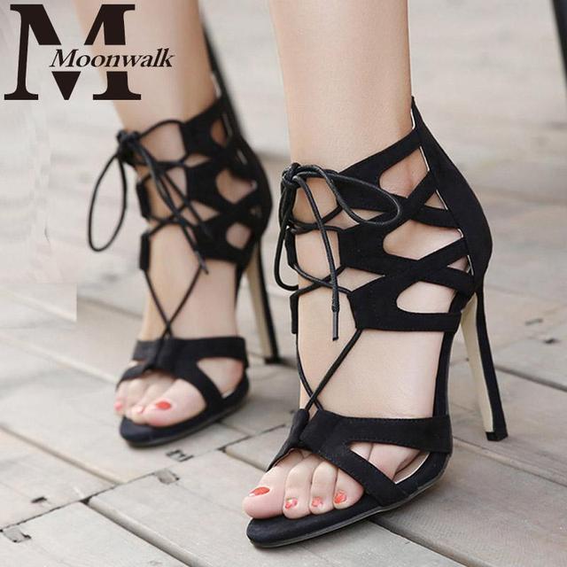Женщины сексуальные высокие каблуки Насосы дизайнер женская обувь зашнуровать стилет ...