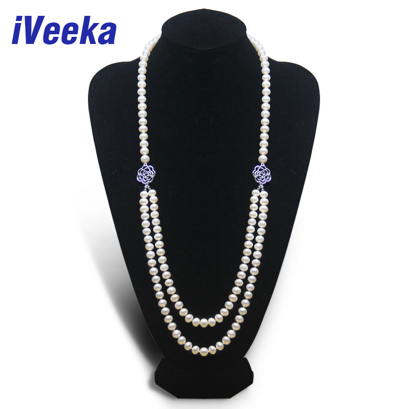 iVeeka Gorgeous Freshwater Pearls Long Necklaces 9~10mm Near Round White Pearls Jewelry 2 Strands Necklaces for Mom Gifts 75cm