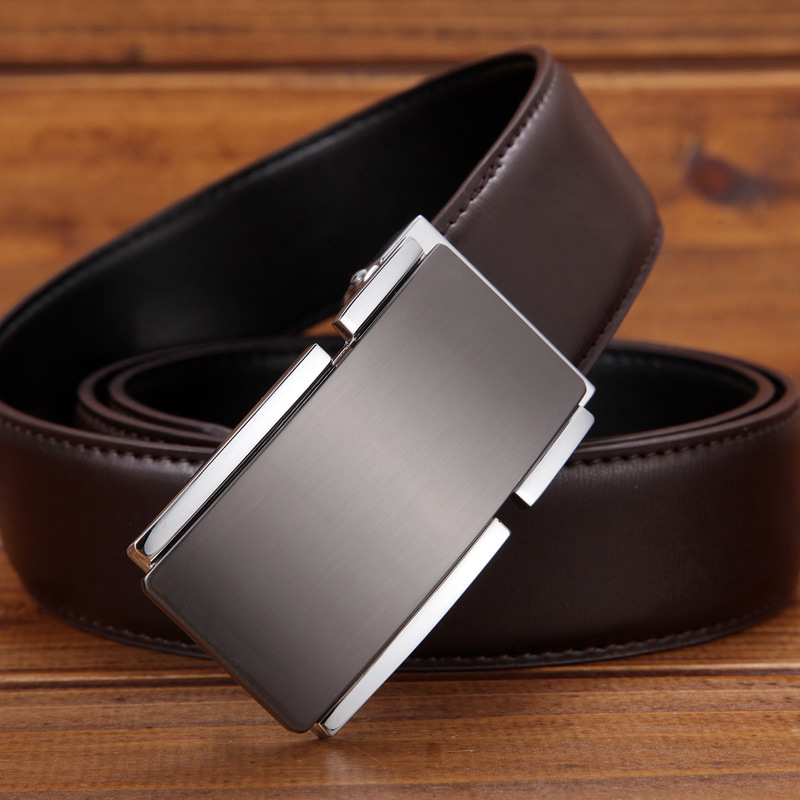 The young men's leather genuine leather brand belt buckle belt smooth male fashion business strap(China (Mainland))