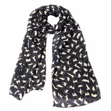 Sali 2016 Newly Design Cat Printed Black Chiffon Scarf Women Lady Wrap Shawls(China (Mainland))