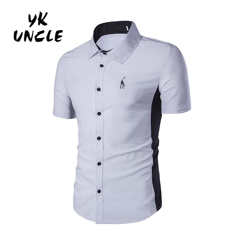Summer 2016 Men's Short Sleeve Shirt Giraffe Logo Patchwork Black with White Dress Shirt Business Slim-fit Twill Shirts,YK UNCLE(China (Mainland))