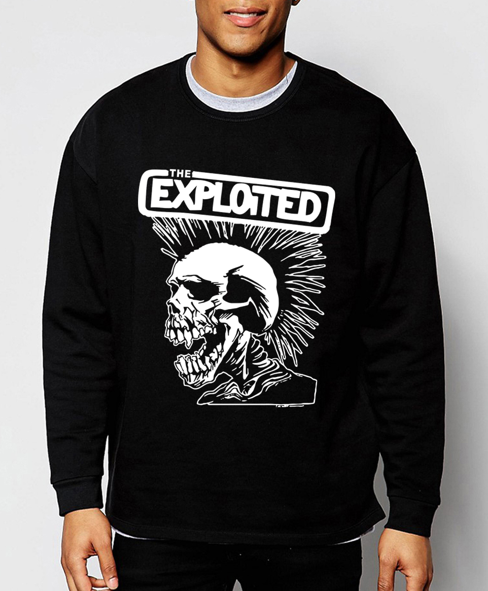 high quality mens sweatshirt Punk Rock The Exploited 2016 new autumn winter fashion hoodies hip hop tracksuit funny clothing(China (Mainland))