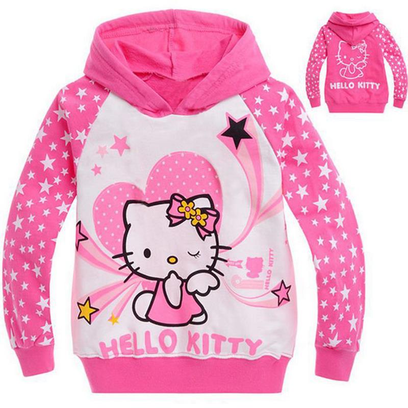 New 2016 Hello Kitty Children Hoodies Hello Kitty Hoodies Kids Autumn Coats Hoody Sweatshirts Girls Hoodies CC012-No.10-CGR(China (Mainland))