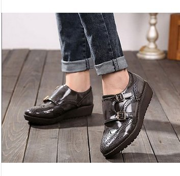 2015 Size 36-40 Women Vintage Bullock Preppy Style Carved Hollow Double Buckle Oxford Students Sweet Platform Oxfords A98<br><br>Aliexpress