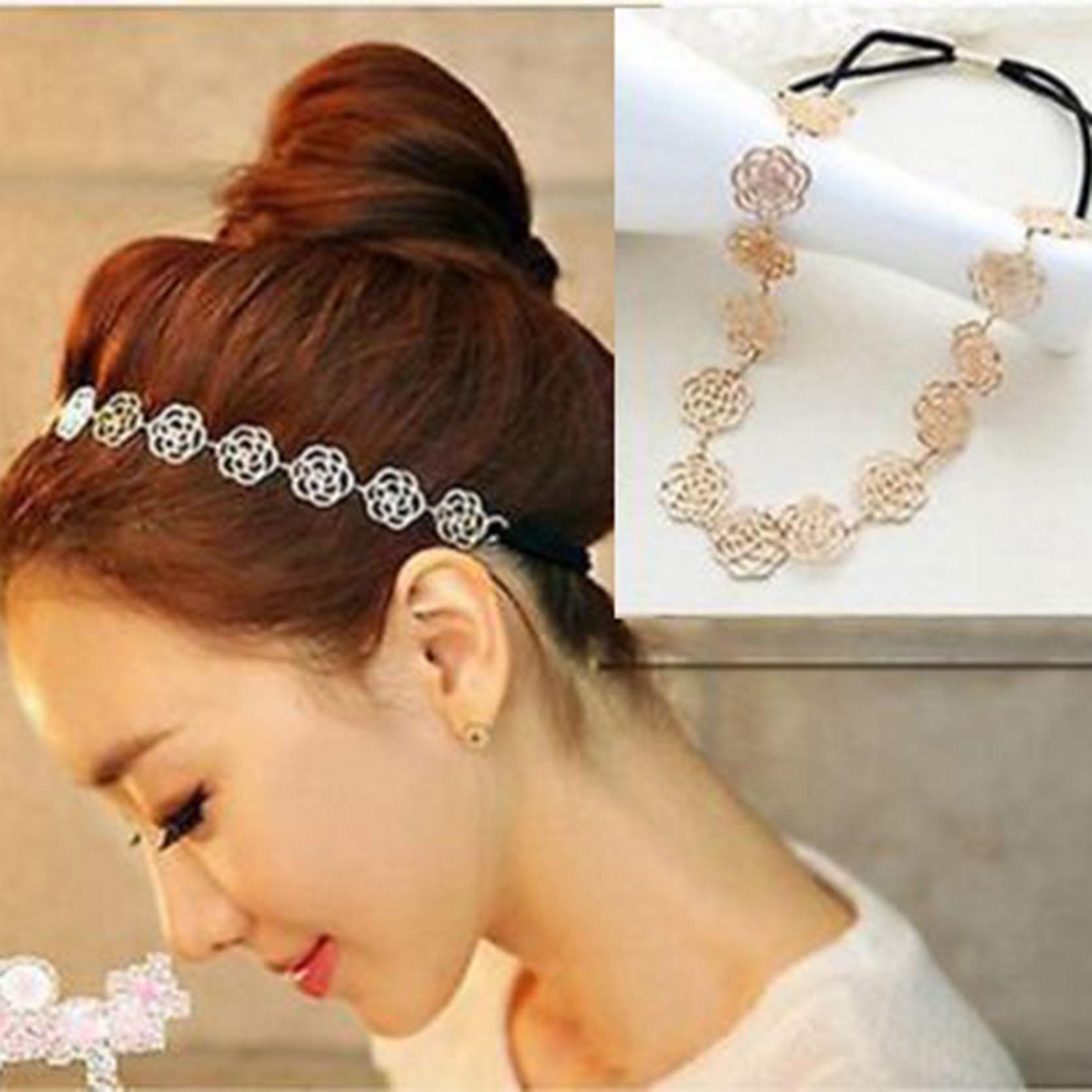 Fashion Women Rose Flower Design Hair Bands Headband Rubber Band