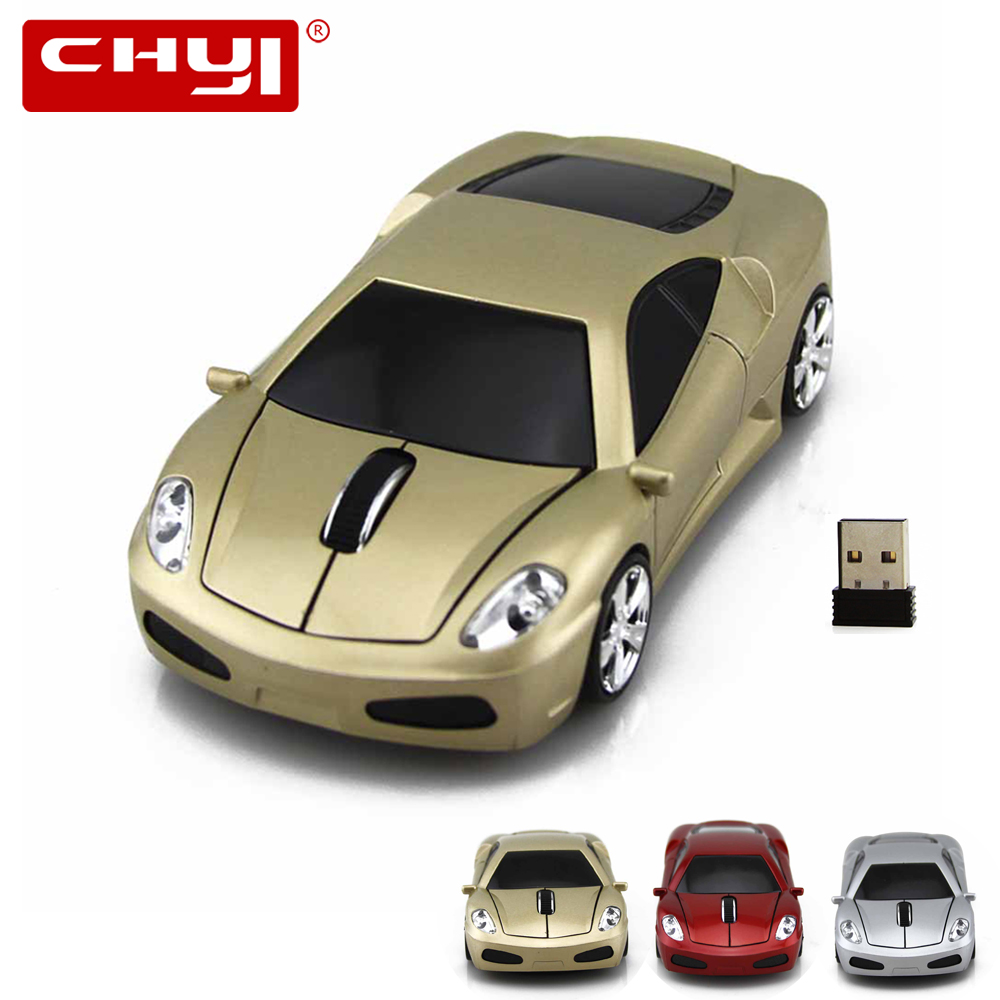 CHYI 2.4GHZ Wireless Computer Optical Mouse 3D 1600 DPI Gaming Mice Sports Car Shaped Mause 3 Color For Laptop Shipped from US(China (Mainland))