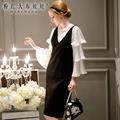 dabuwawa women knitted dress autumn big sizes v collar knee length fashion casual black sweater dresses