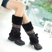 Aleafalling Rusland Winter Warm Verdikte Bont Over de Knie Hoge Hak Laarzen Vrouwen Schoenen Mode Sexy Botas Lange Vrouw Schoeisel WBT173(China)