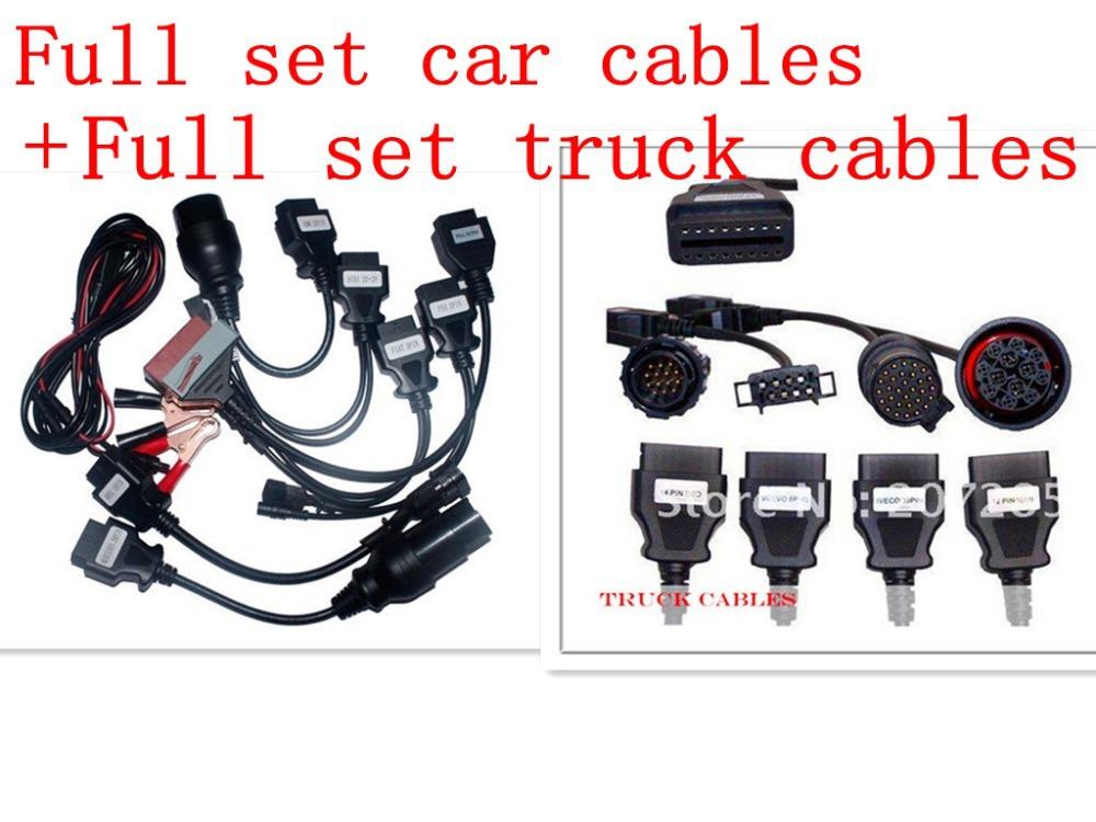 Супер продаж полный автомобиль кабели + грузовик кабели черный TCS сканер pro