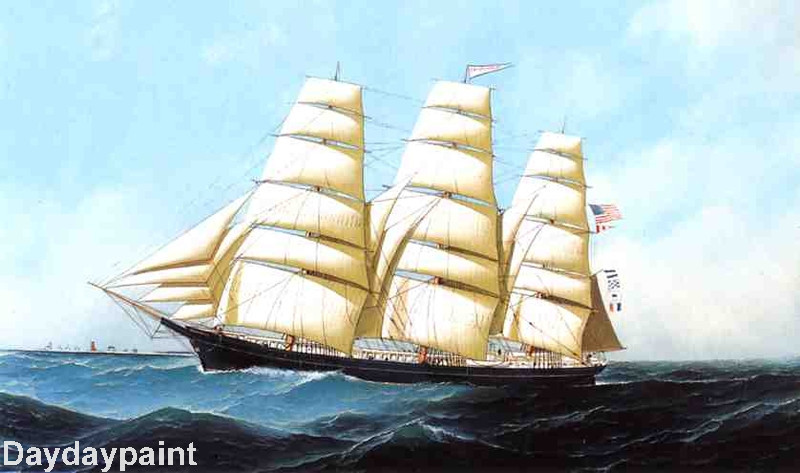 Hand Painted Boat Oil Painting The Clipper Ship Triumphant FREE SHIPPING(China (Mainland))