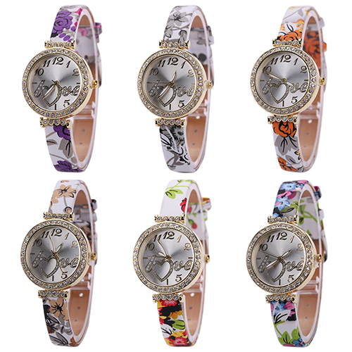 2016 Fashions Womens  Lady Girl Love Heart Dial Fine Faux Leather Flower Strap Quartz Dress Wrist Watch Watch for the Young<br><br>Aliexpress