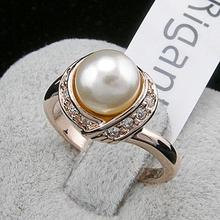 Italina Rigant 18K Real Gold Plated Pearl Ring/jewelry rings for women With Swarovski Crystal Stellux Top Quality #RG93137