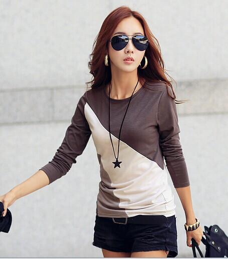 2015 New Autumn Fashion Women's T-shirt Color Block Basic Round collar Long-sleeve T shirt Large size Female Tees - Oriental international Garment Co., LTD store