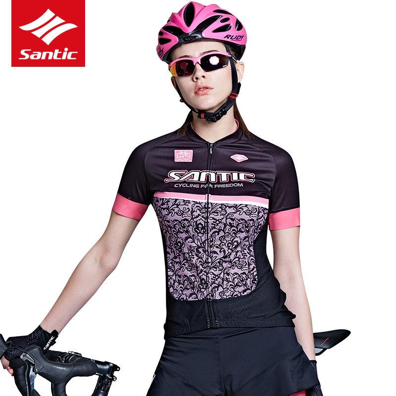 2017 Santic Women Cycling Jersey Short Sleeve Summer Cycling Clothing MTB Road Bike Bicycle Jersey Tour De France Jersey(China (Mainland))