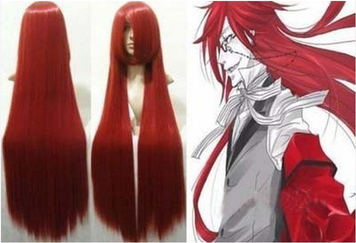 Animation Art Black Butler Grell Sutcliff Cosplay red Wig 80CM+ WeavIng cap(China (Mainland))
