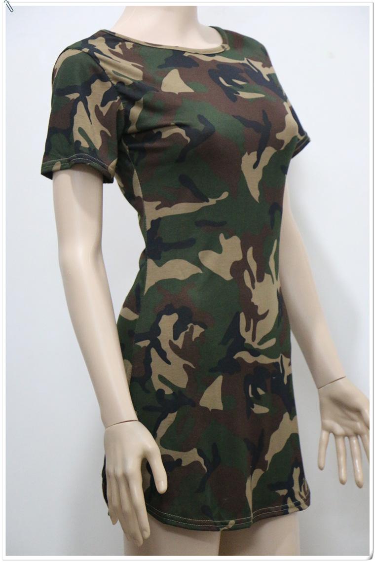 Europe irregular 2016 dress female nightclub hem round neck camouflage dress tight D3998-S(China (Mainland))
