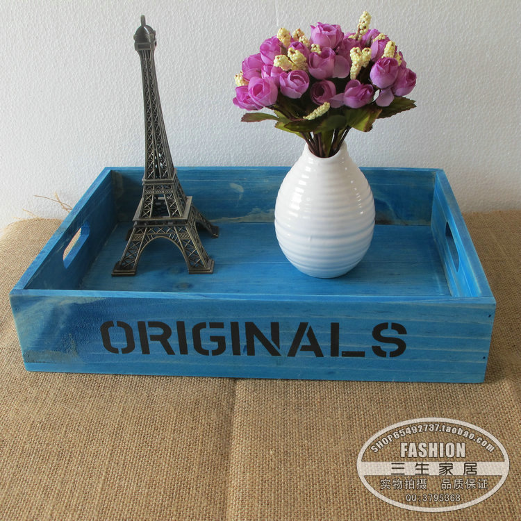 Desktop storage box finishing cosmetic wooden saucer tray zakka grocery retro wood - Home Furnishing flagship store