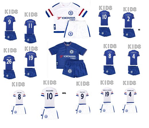 A+++ quality 15/16 HAZARD OSCAR DIEGO COSTA Youth Sets Baby Kits Uniforms Chelsea Kids 2015 2016 Chelsea Children Soccer Jersey(China (Mainland))