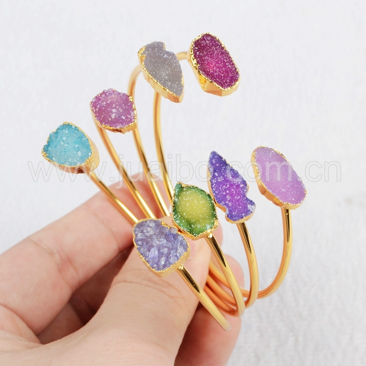Free Shipping 24K Gold Plated Double Arrow Rainbow Natural Agate Bangle Druzy Geode Adjustable Bangle Fashion Jewelry G0327 <br><br>Aliexpress