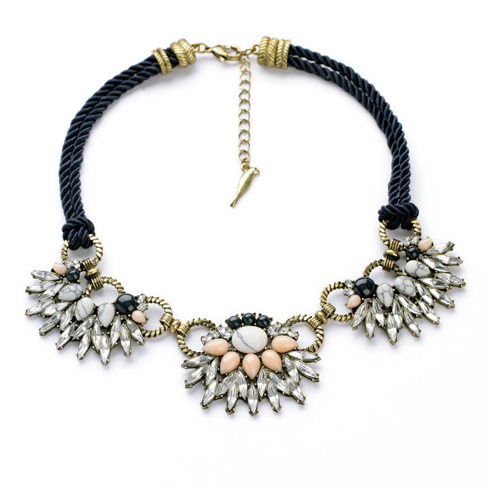 Handcraft Dress Match 2014 Resin Stone Zinc Alloy Blue Rope Chain Maquise Clear Crystal Collar Necklace(China (Mainland))