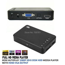 Full HD 1080P SD/U Disk HDD Media Player USB External multimedia player With HDMI VGA Output Support MKV H.264 RMVB WMV(China (Mainland))