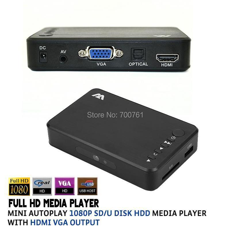 Full HD 1080P SD/U Disk HDD Media Player USB External multimedia player With HDMI VGA Output Support MKV H.264 RMVB WMV(China (Mainland))