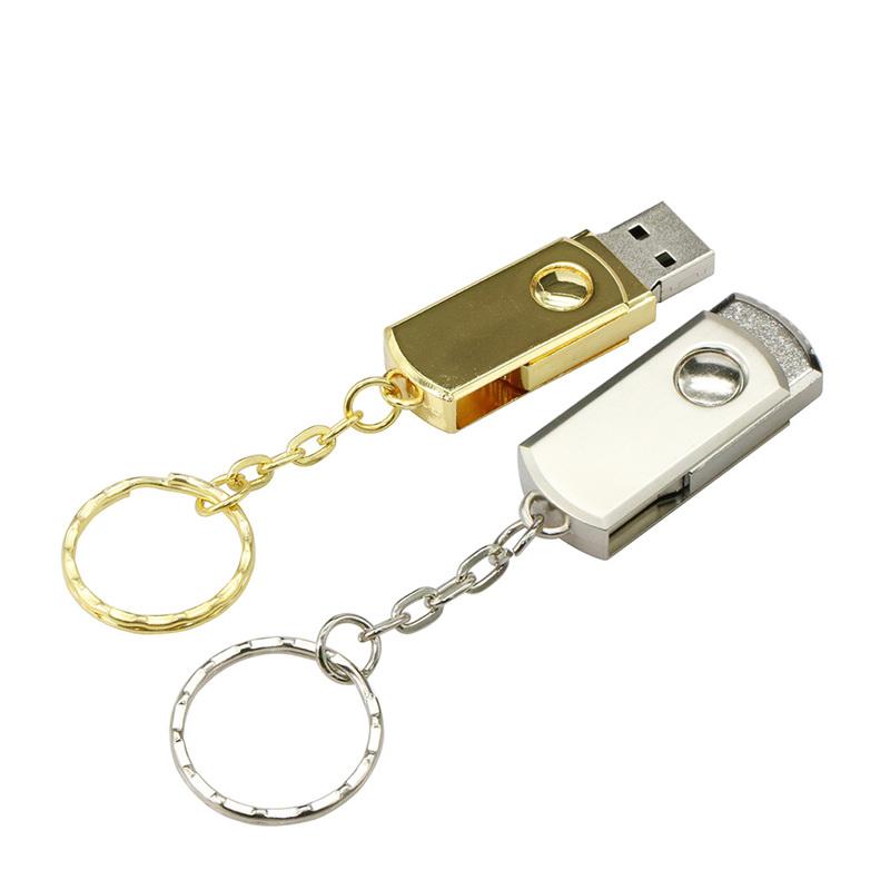 Rotatable Mini USB Silver Gold Metal Micro Drive 32GB Flash 16 GB 8GB 4GB 2GB 1G Memory Stick Pen Key Chain - Atarax store