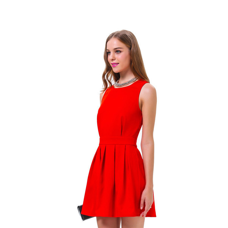 Plus Size Elegant Ladies Dress 2015 Cute High Waist Princess Red Sleeveless Bandage Backless Women Fashion Cloth - Legendary Sexy store