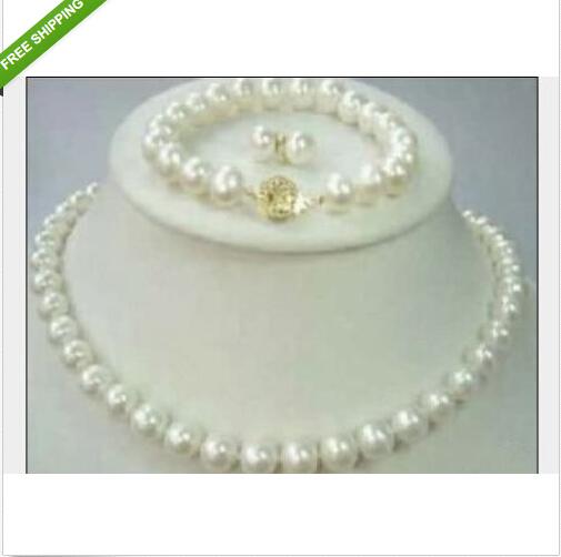 9-10mm south sea Cultured Pearl Necklace 18'' Bracelet 7.5-8'' & Earring set  -  wen peng's store store