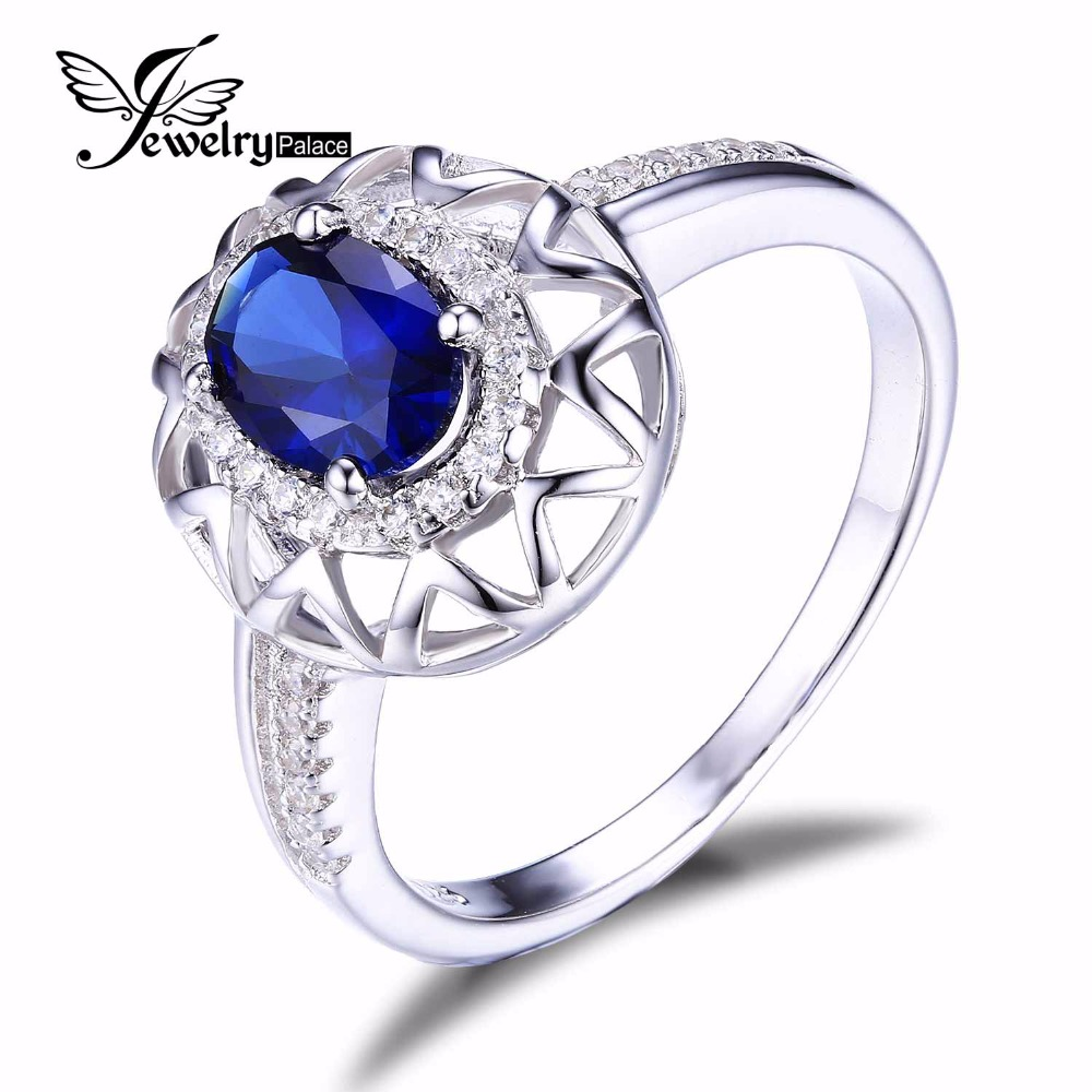 JewelryPalace Unique Design 1.2ct Created Blue Sapphire Ring 925 Sterling Silver Fine Jewelry Women Statement - Jewelrypalace store