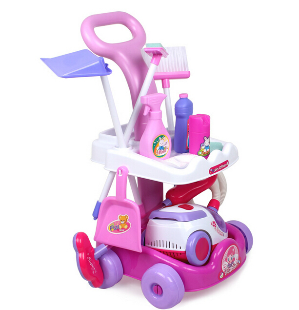 Kids Toy Cleaner Play Set Cleaning Trolley Pretend Play Broom Mop Vacuum Cleaner(China (Mainland))