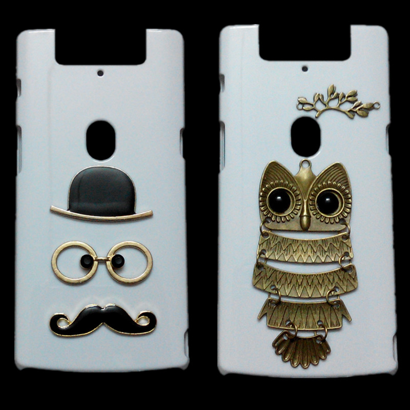 Fashion Back Case For OPPO N3, Retro Metal Skull Stud Rivet Cute Owl Branch Hard Cover For OPPO N3 3D Mustache Phone Bags Cases(China (Mainland))