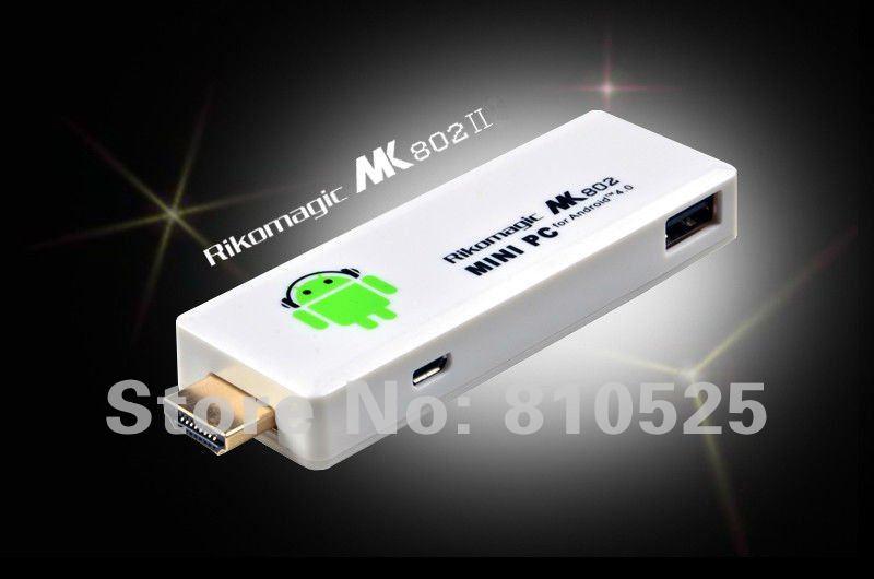 Rikomagic MK802 II Mini Android 4.0 PC Android TV Box A10 Cortex1GB RAM 4G ROM HDMI TF Card -MK802II with USB LAN